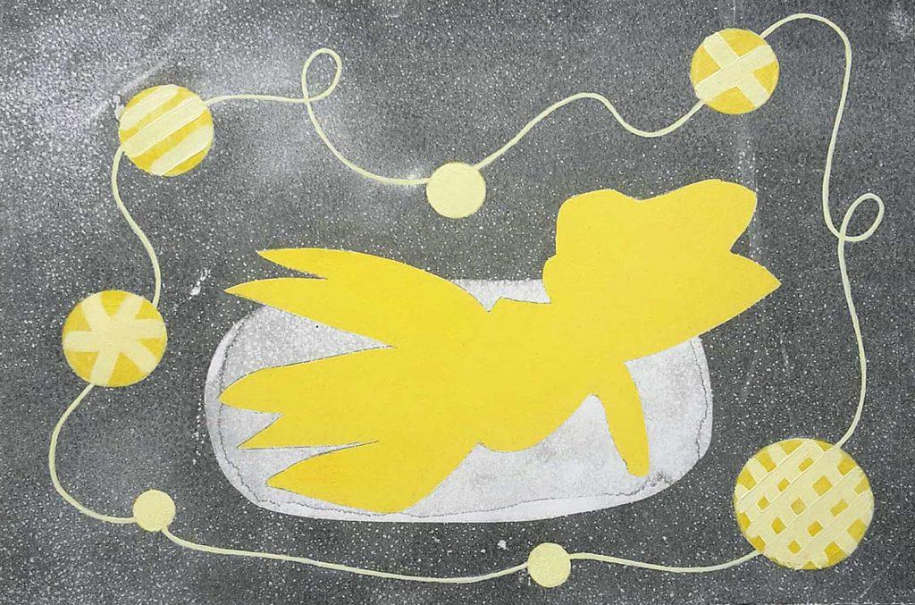 Gelb träumt gomdruk olieverf