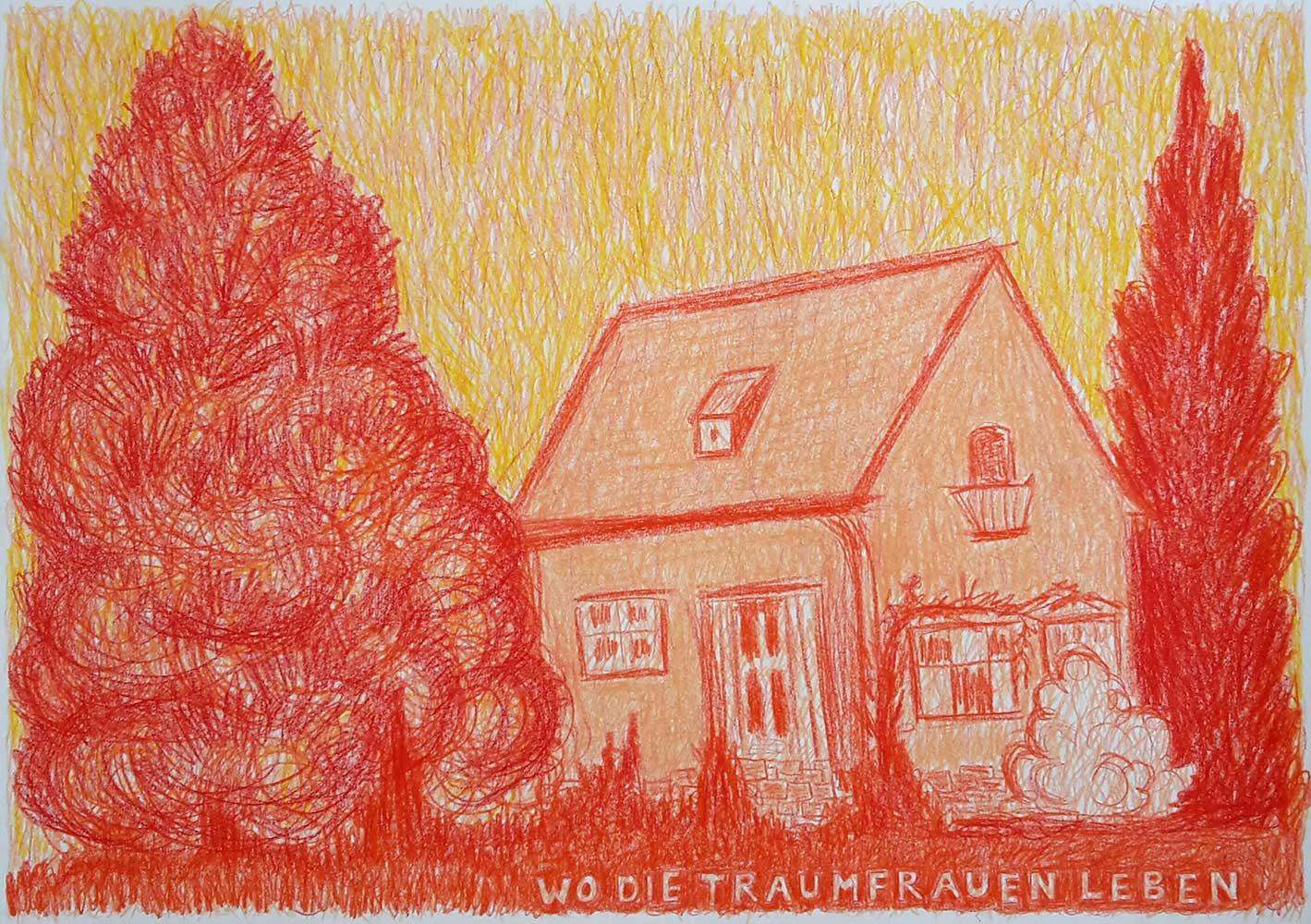 Wo die Traumfrauen leben tekening waspastel